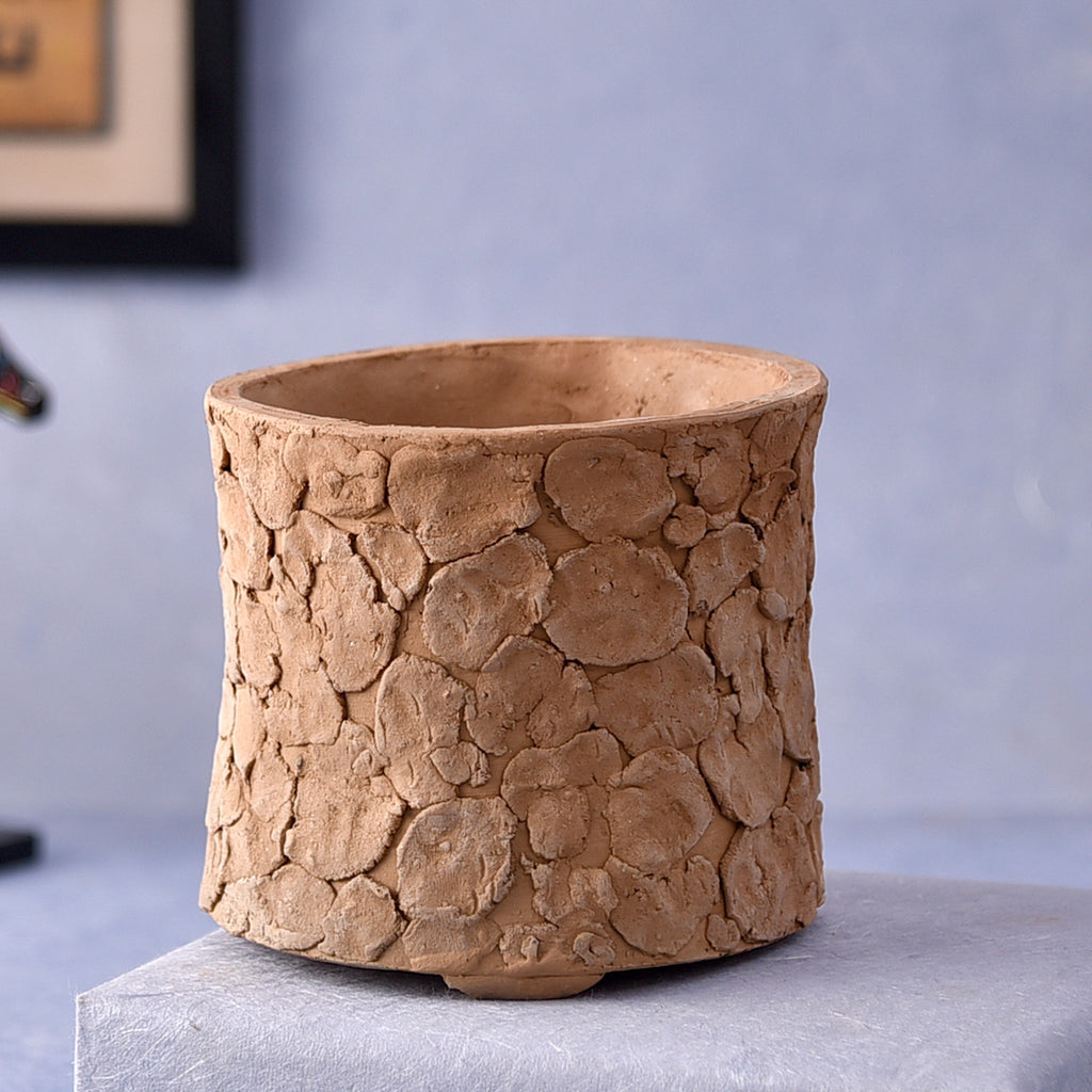 Clay Chipped Round Handcrafted Pot