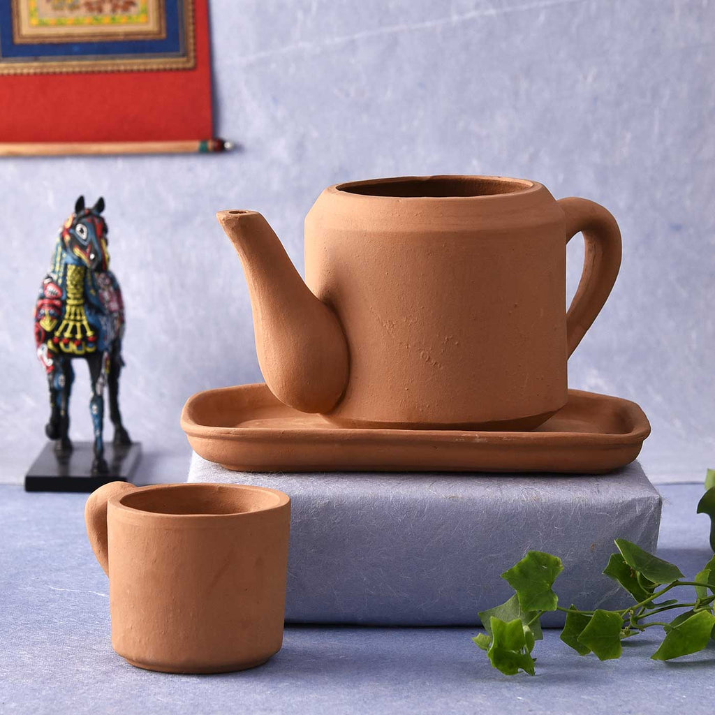 Quirky Tea Set Terracotta Pot