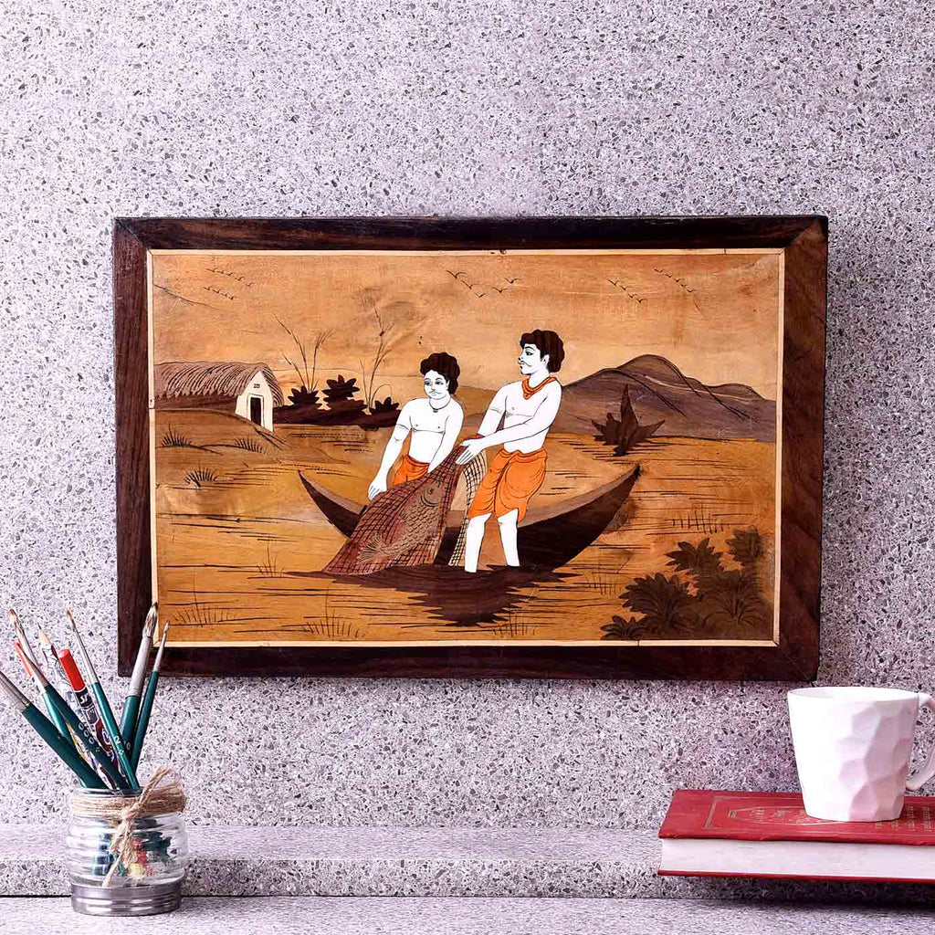 Fishermen At Work Wooden Painting