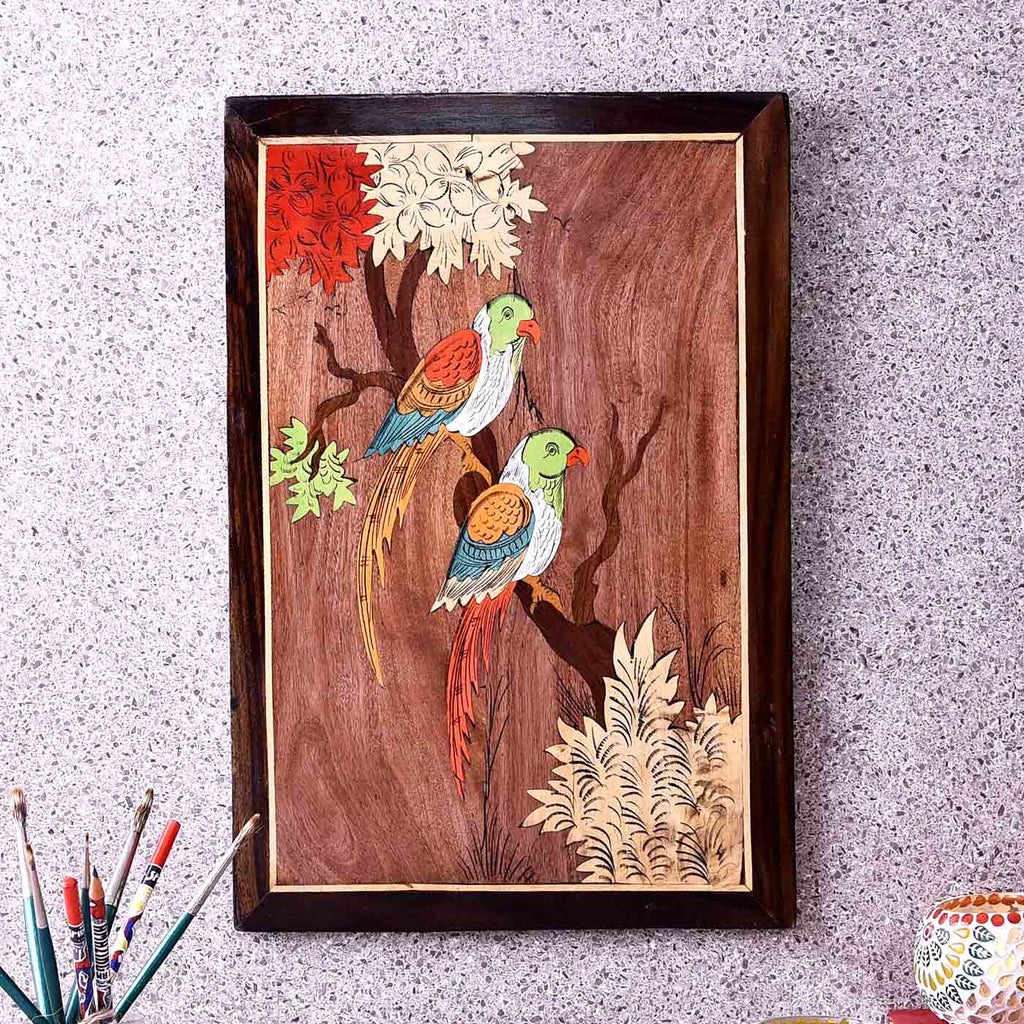 Parrot Companions Colorful Wooden Painting