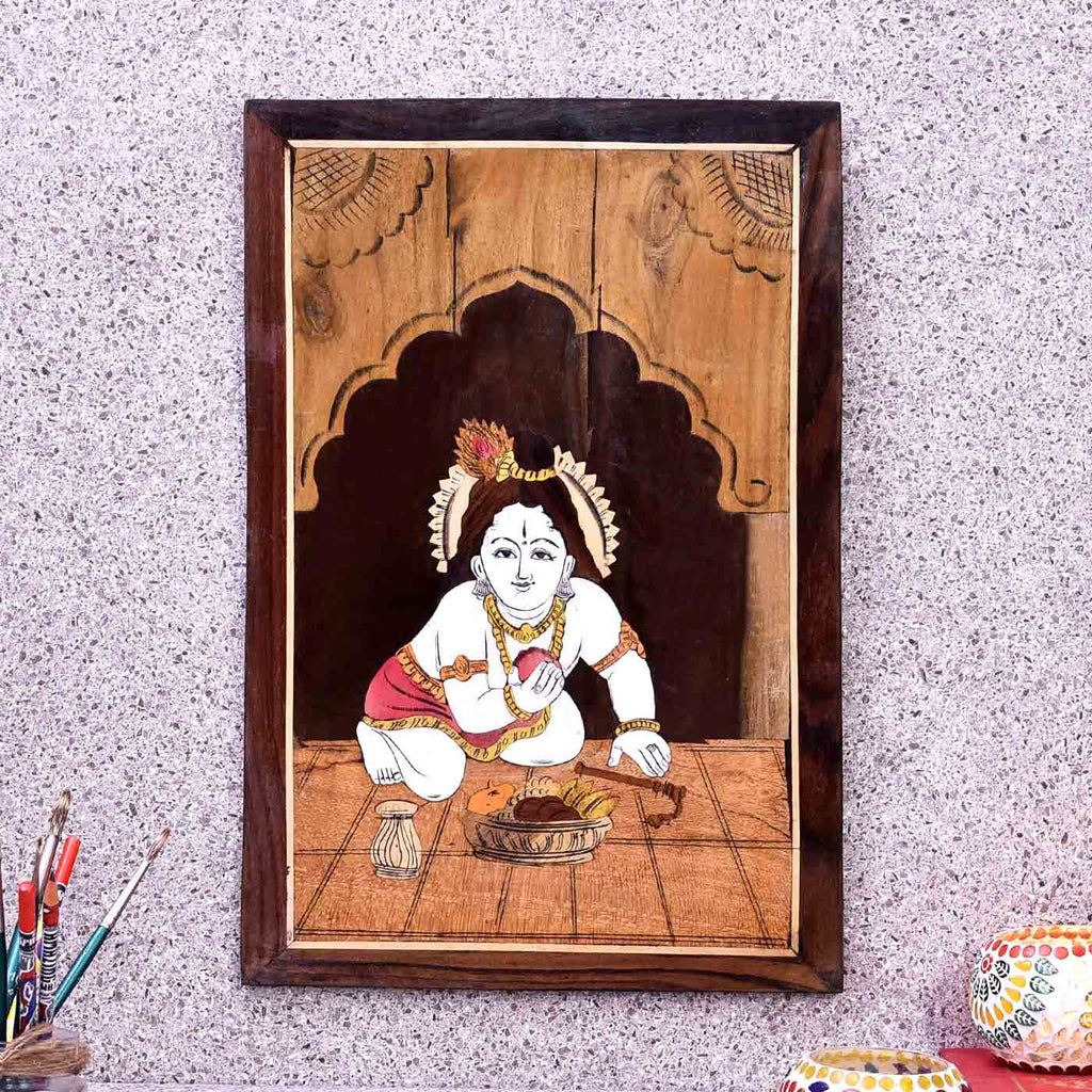 Laddu Gopal Krishna Wooden Panel