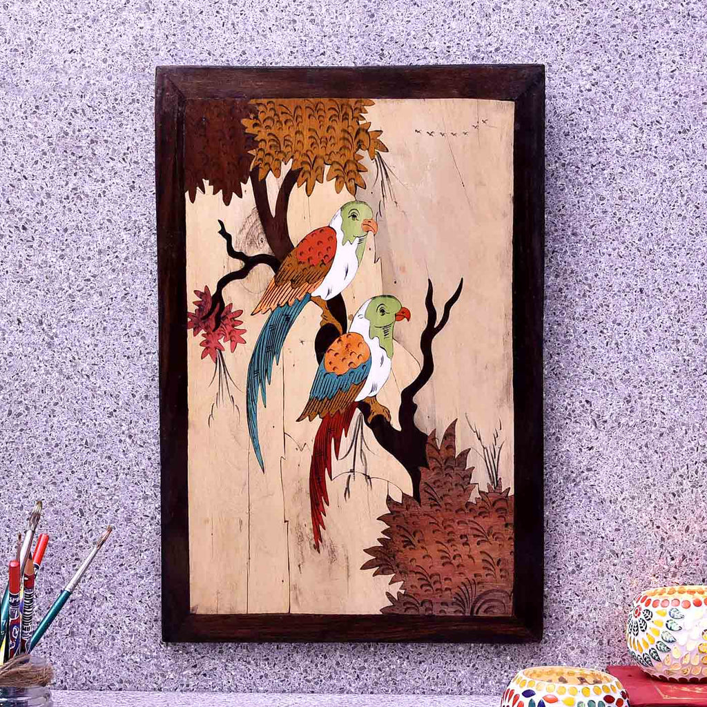 Parrots In Wilderness Wooden Panel Painting