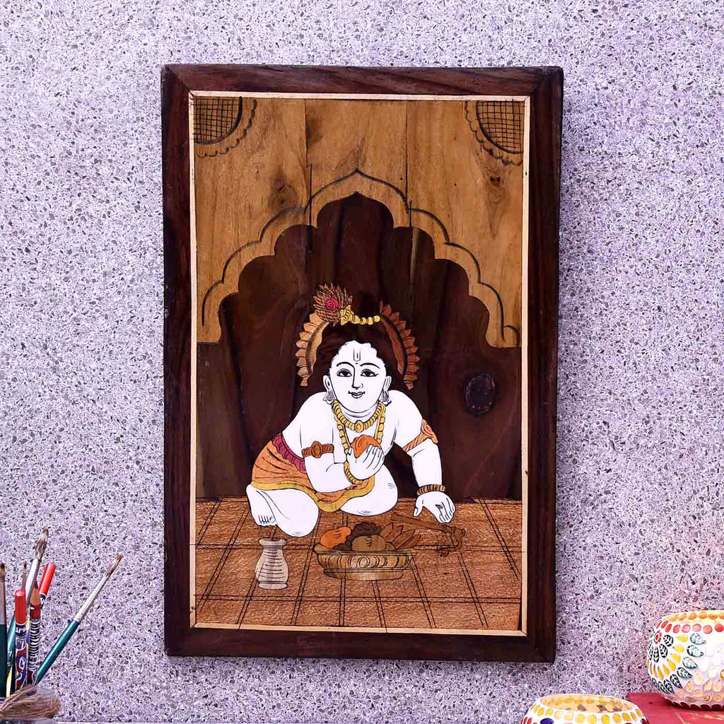 Divine Playful Krishna Wooden Panel Painting
