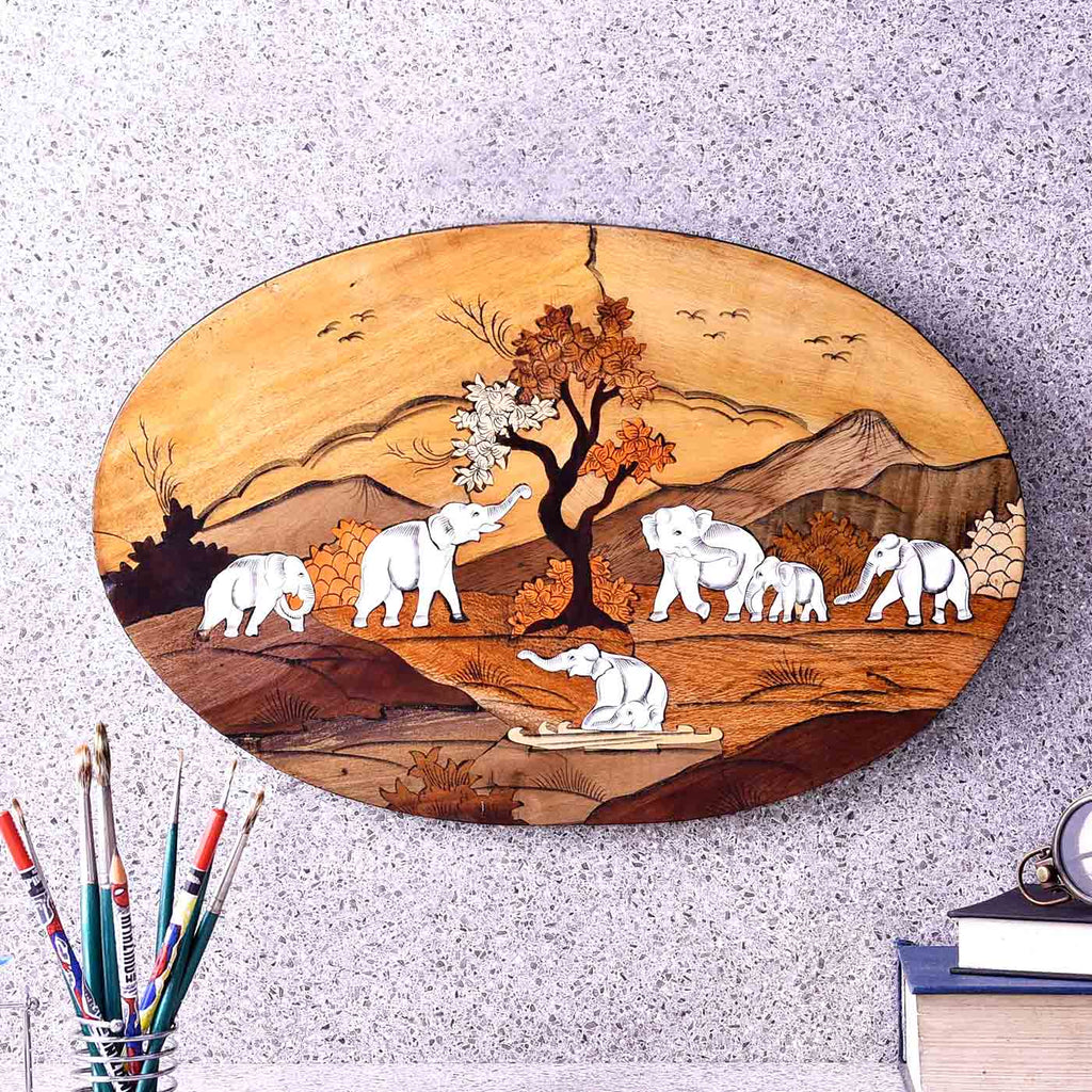 Exuberant Herd Of Elephant Oval Wooden Painting