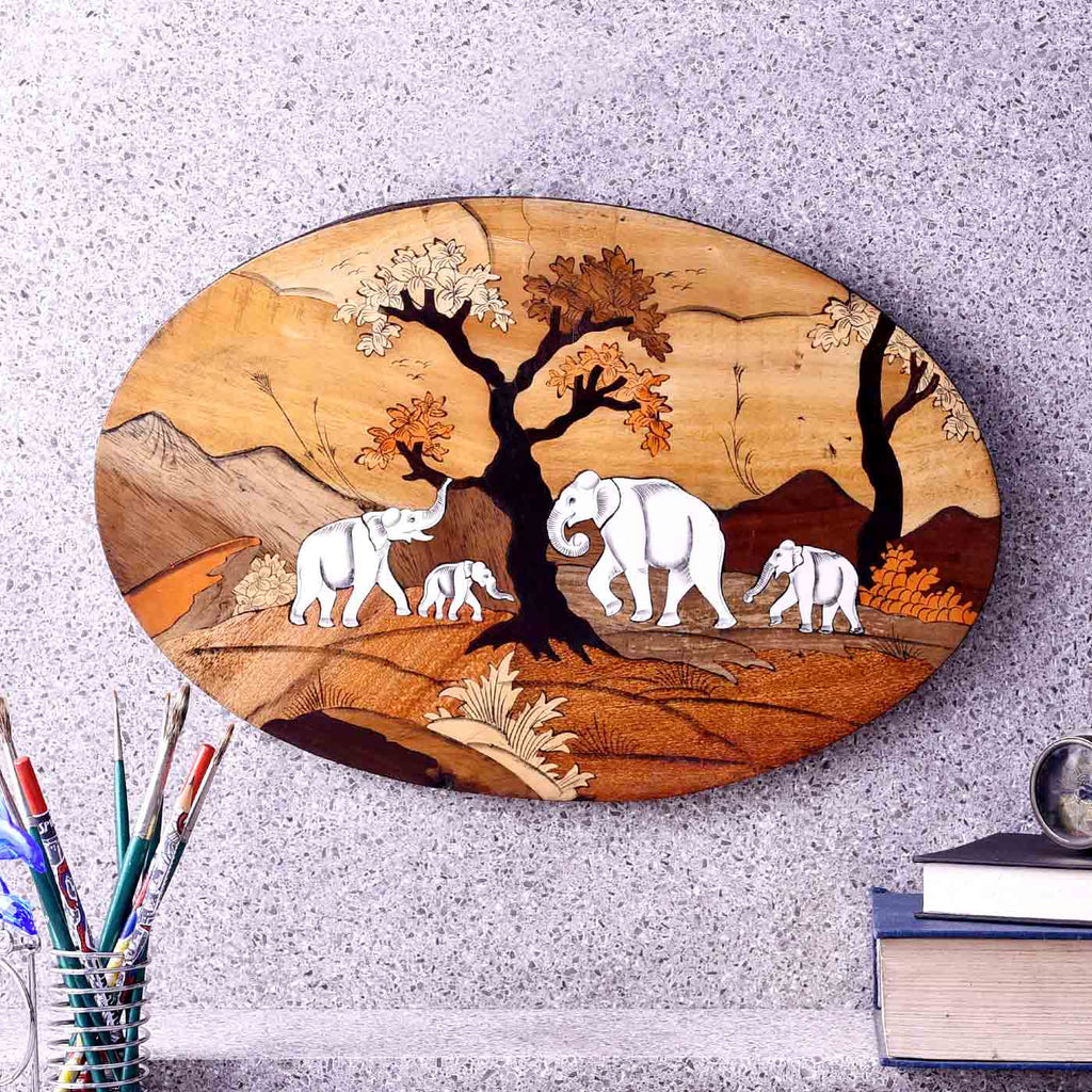 Cheerful Elephant Family Oval Wooden Painting