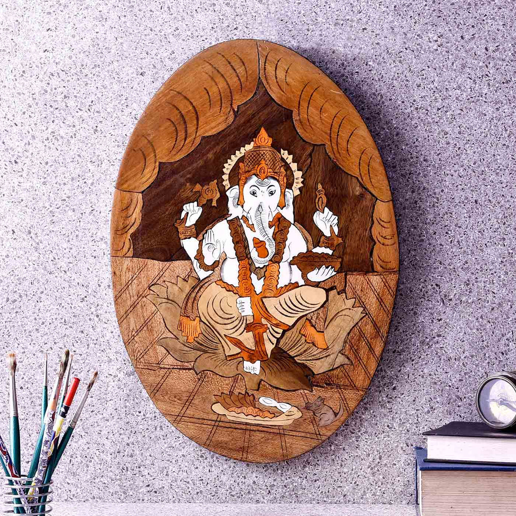 Blessings By Ganesha Oval Wooden Painting