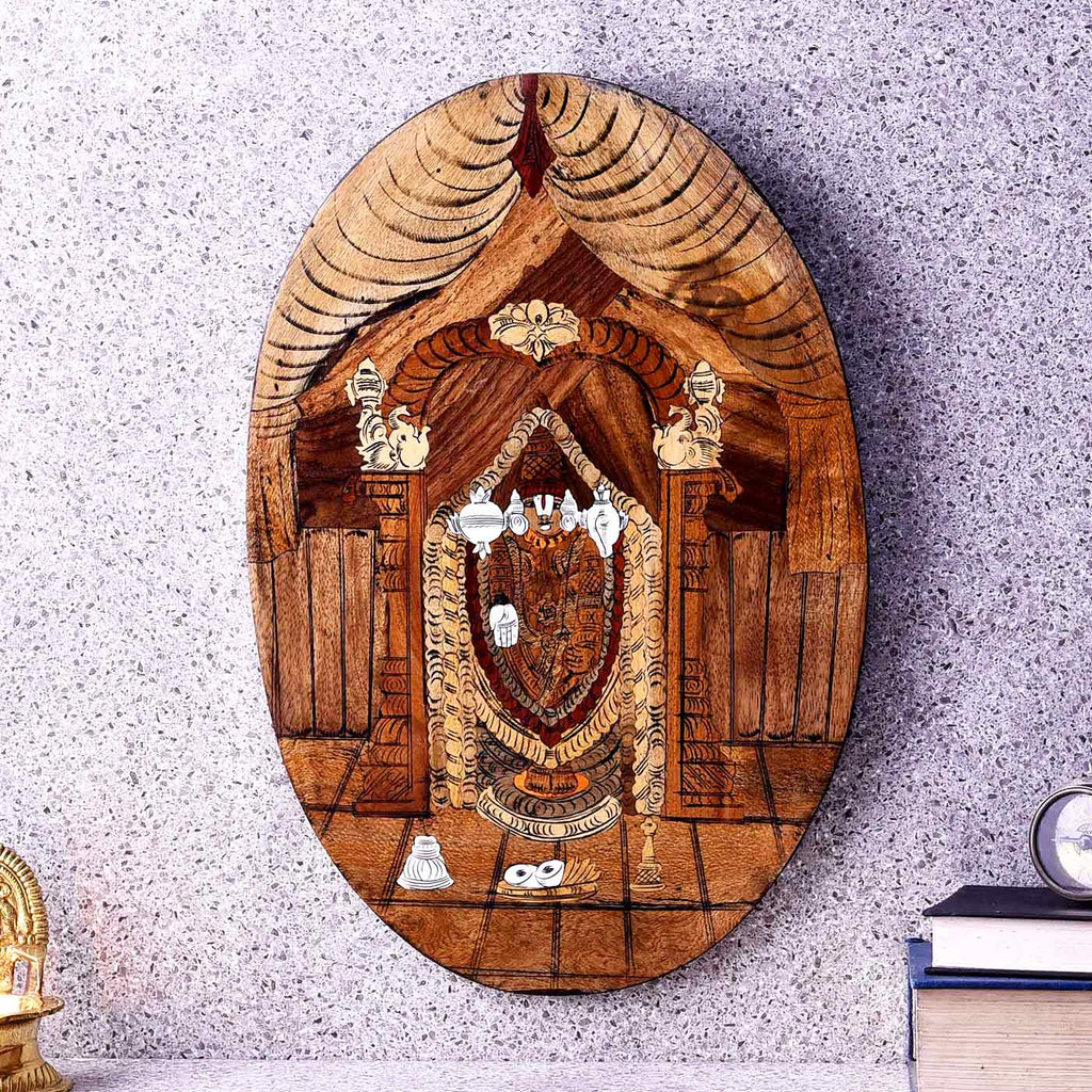 Lord Balaji Wooden Oval Painting