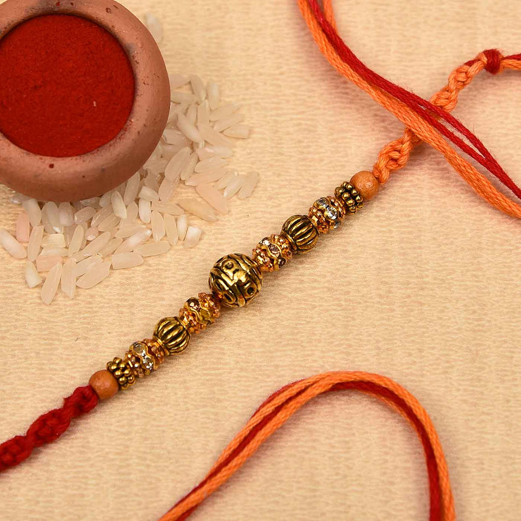 Antique Metal Finish & Wooden Beads Rakhi