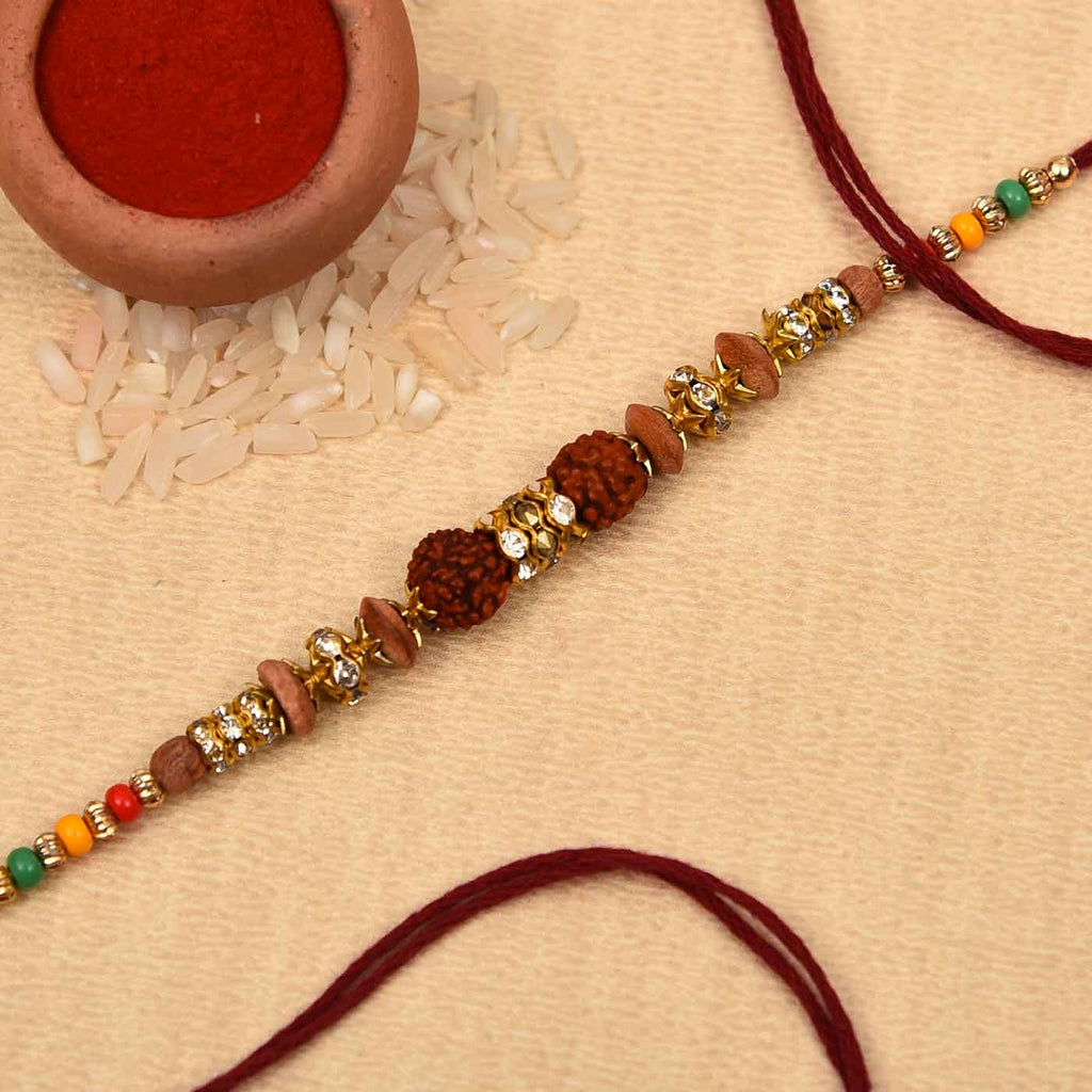 Traditional Rudraksh, Wooden Beads & Stones Rakhi