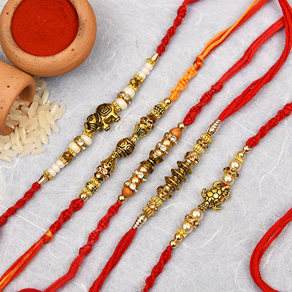 Metal Look Set Of 5 Elephants Rakhi