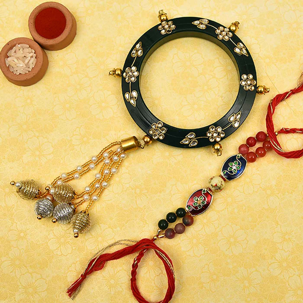 Beautiful Bangle & Meena Work Bhaiya Bhabhi Rakhi