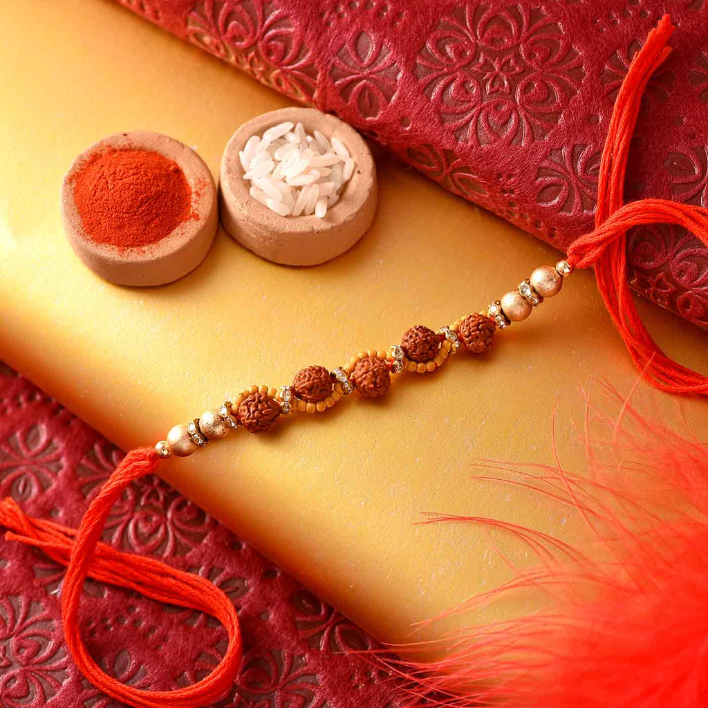 Traditional Panch Rudraksha Rakhi Thread With Golden And Yellow Beads