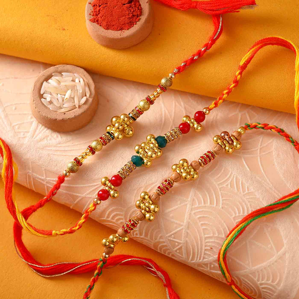 Beautiful Ghungroo & Crystal Rakhis Set Of 3