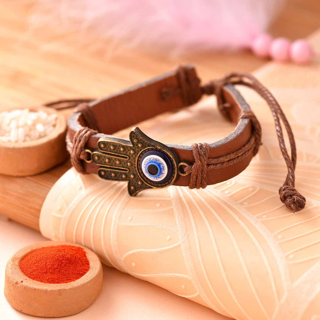 Smart Leather Strap Evil Eye Rakhi