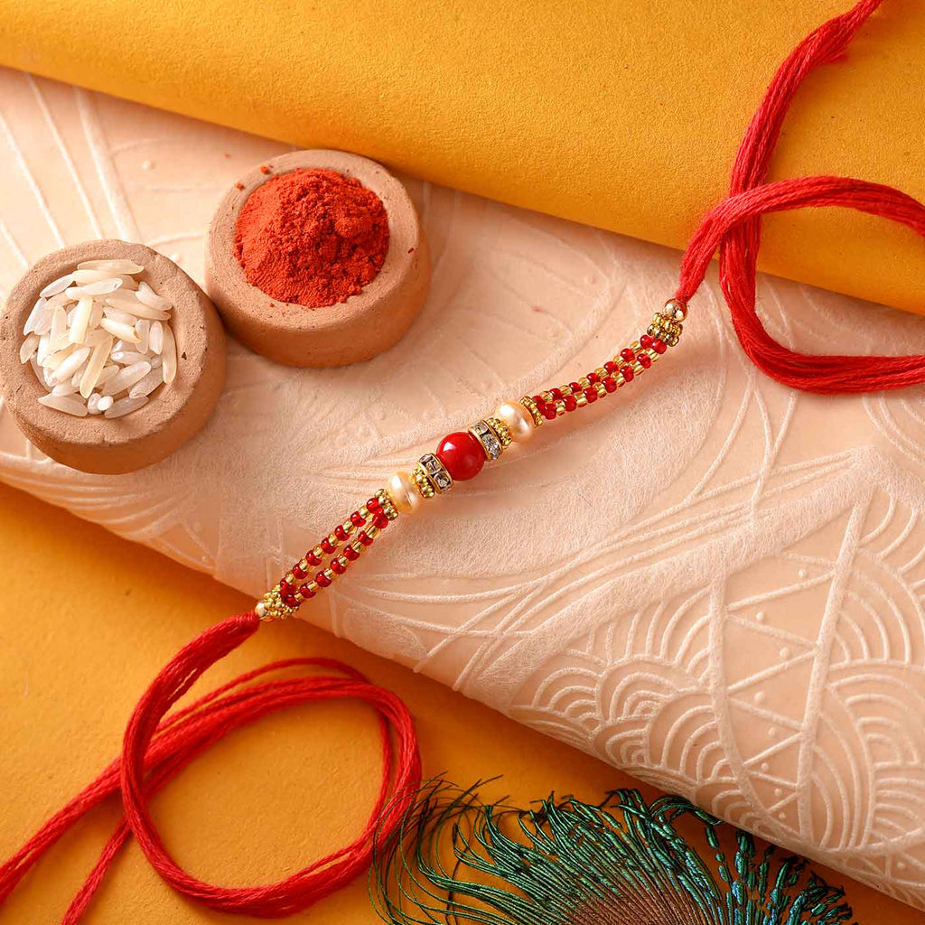 Attractive Beads & Pearls Rakhi Thread