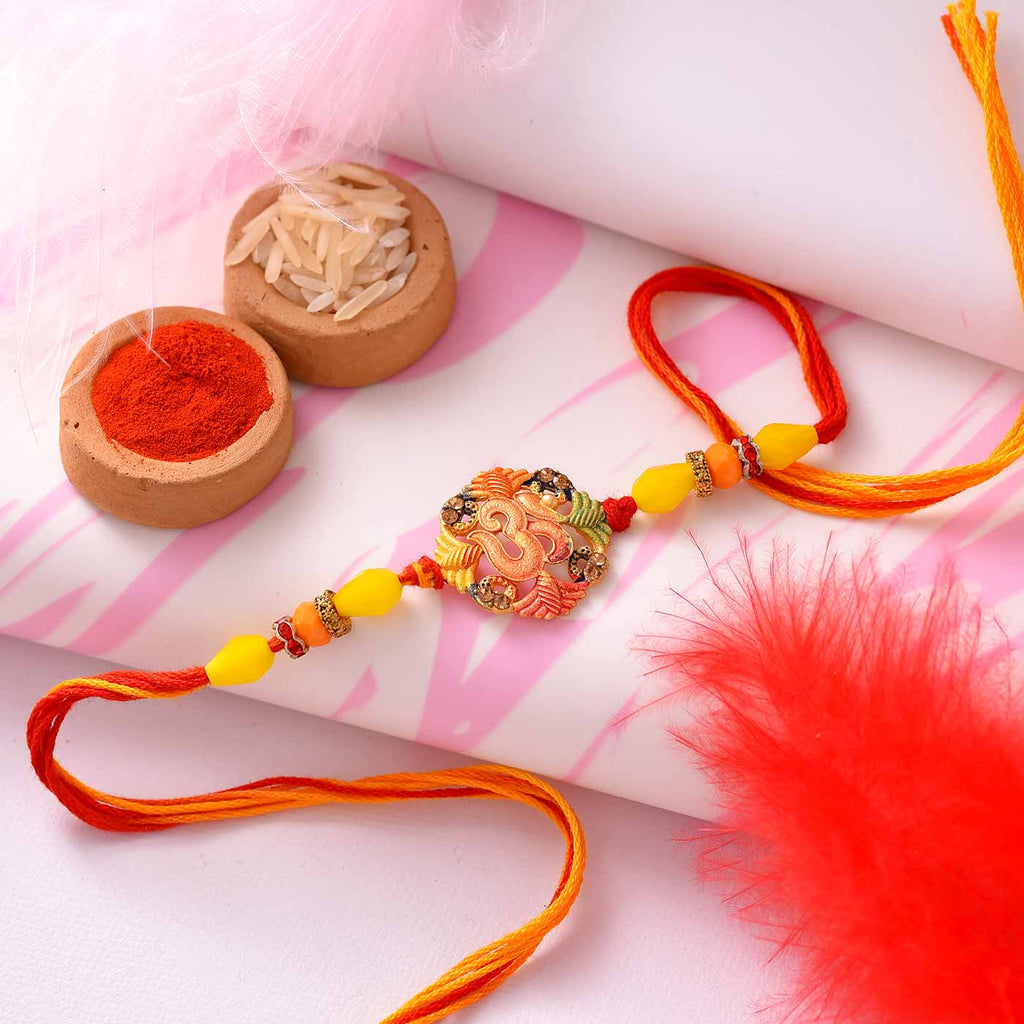Traditional Om & Colorful Beads Rakhi