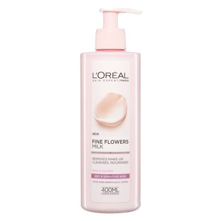 L'Oreal Fine Flowers Cleansing Milk Dry And Sensitive Skin 400ml