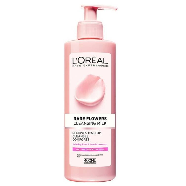 L'Oreal Rare Flower Cleansing Milk Dry And Sensitive Skin 400ml
