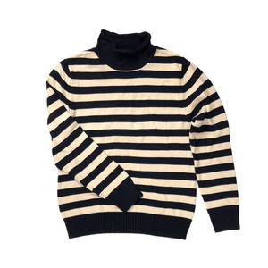 Navy Stripe Rollneck Sweater