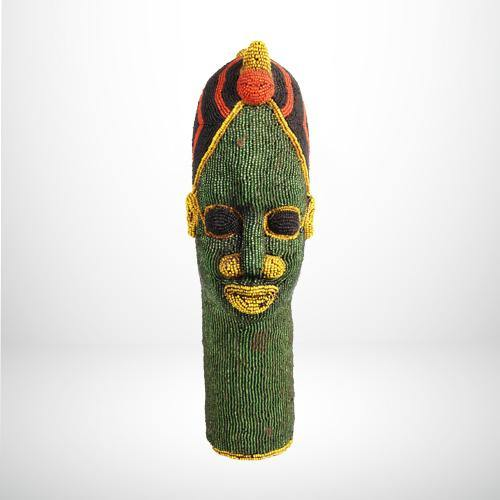 Medium African Head Totem with Glass Beading - African Collection