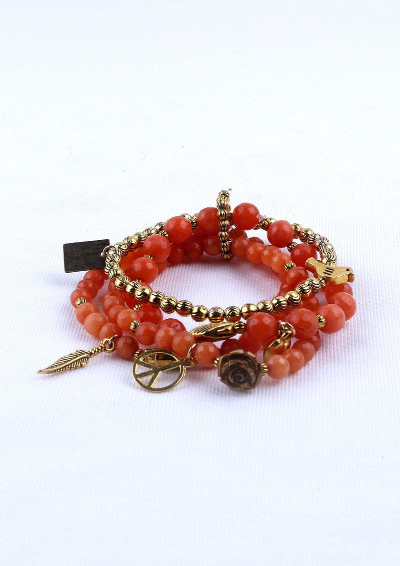 Elegant Agate/Nacre Faceted Elastic Bracelet - African Collection