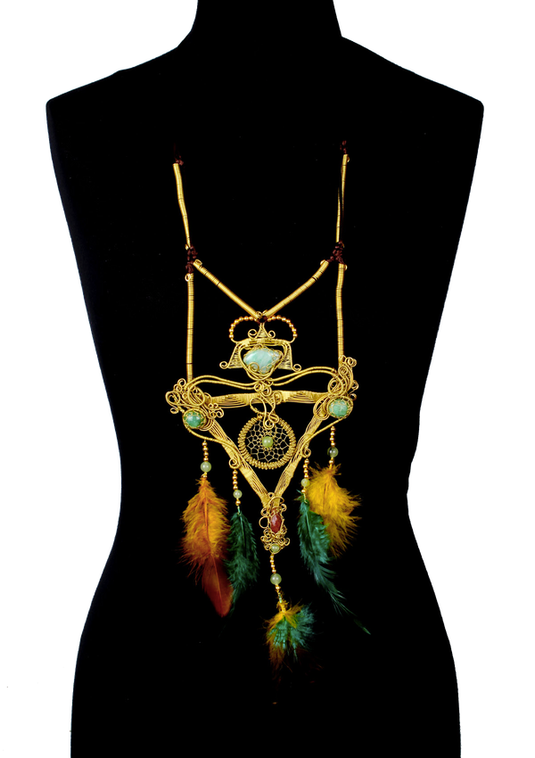 Handmade Necklace with pyramid pendant - African Collection