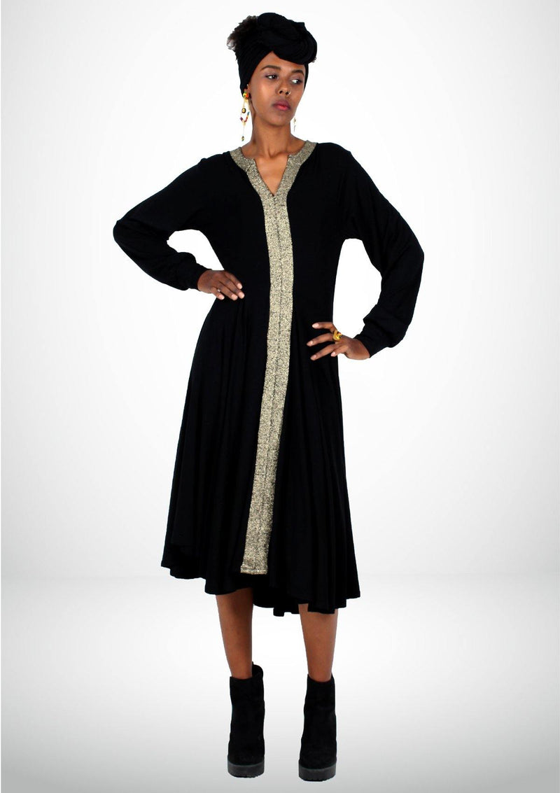 Black Dress with a Golden V Neck - African Collection
