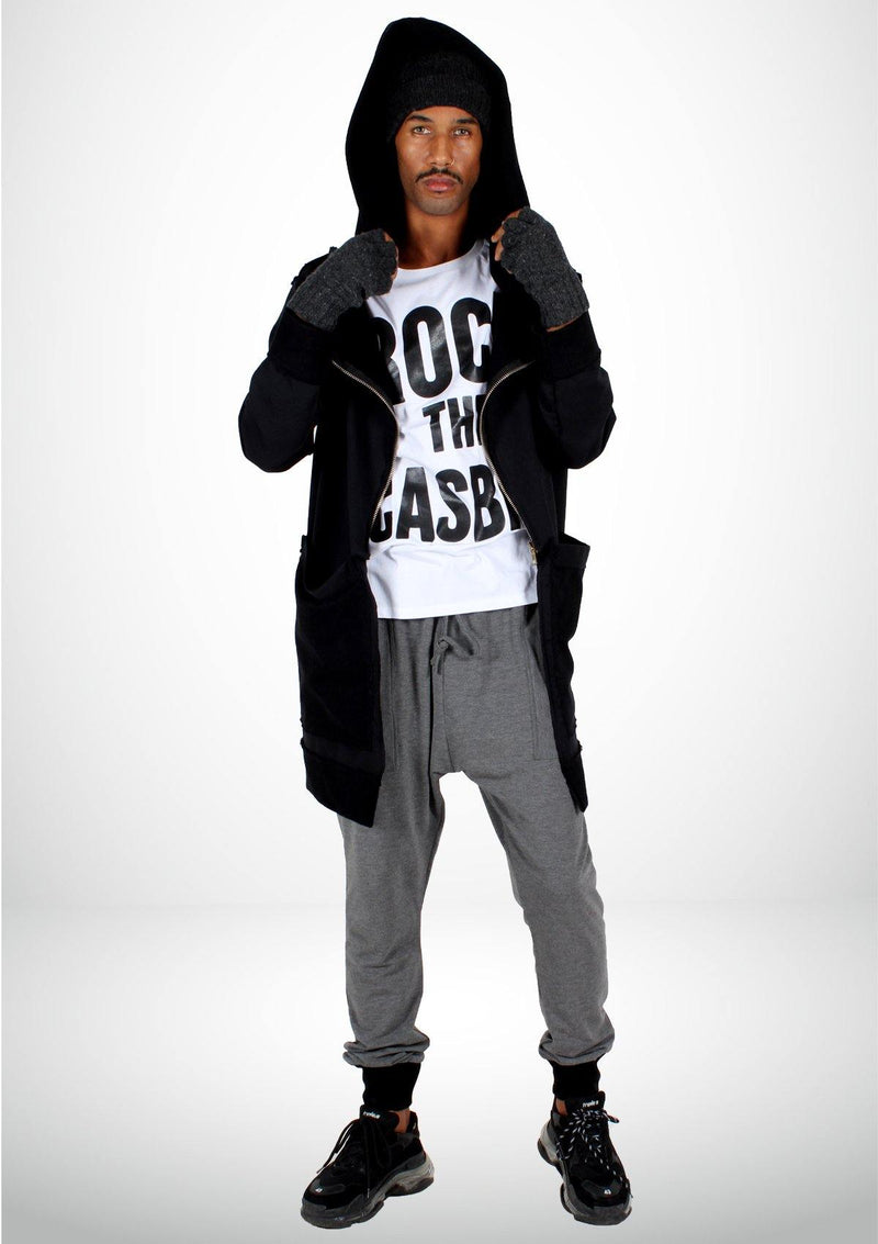 Black Oversized Coat with a Djellaba's Hoodie - Men - African Collection