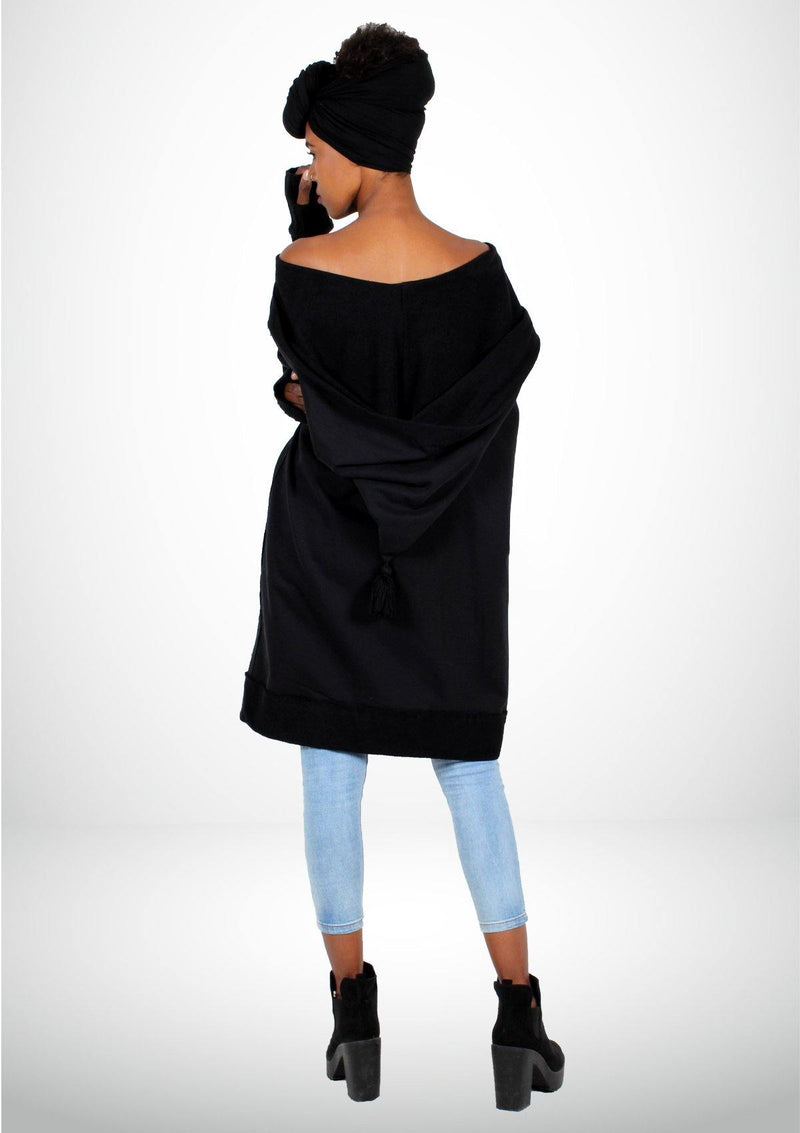 Black Oversized Coat with a Djellaba's Hoodie -Women - African Collection
