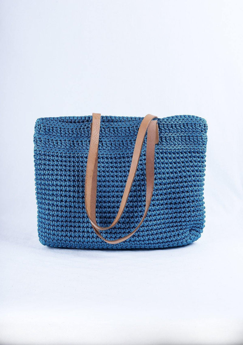 Blue Braided Bag with Leather Handle - African Collection
