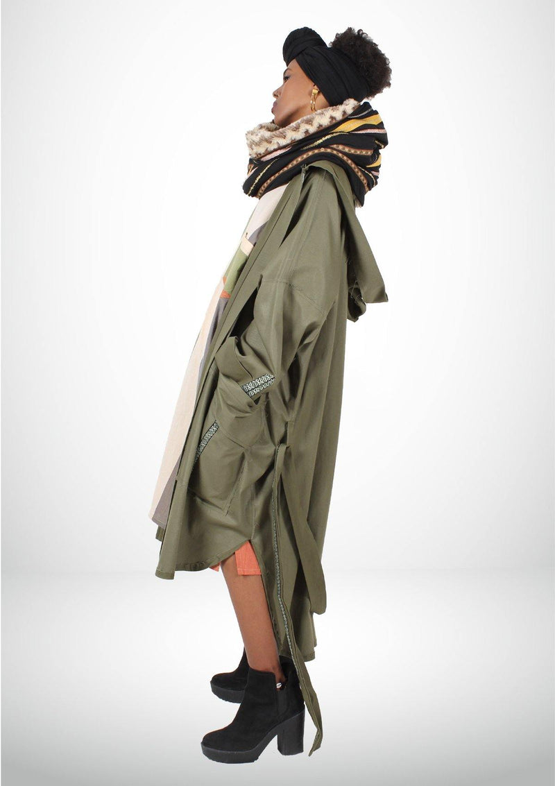 Casual Green Coat with Large Pockets - African Collection