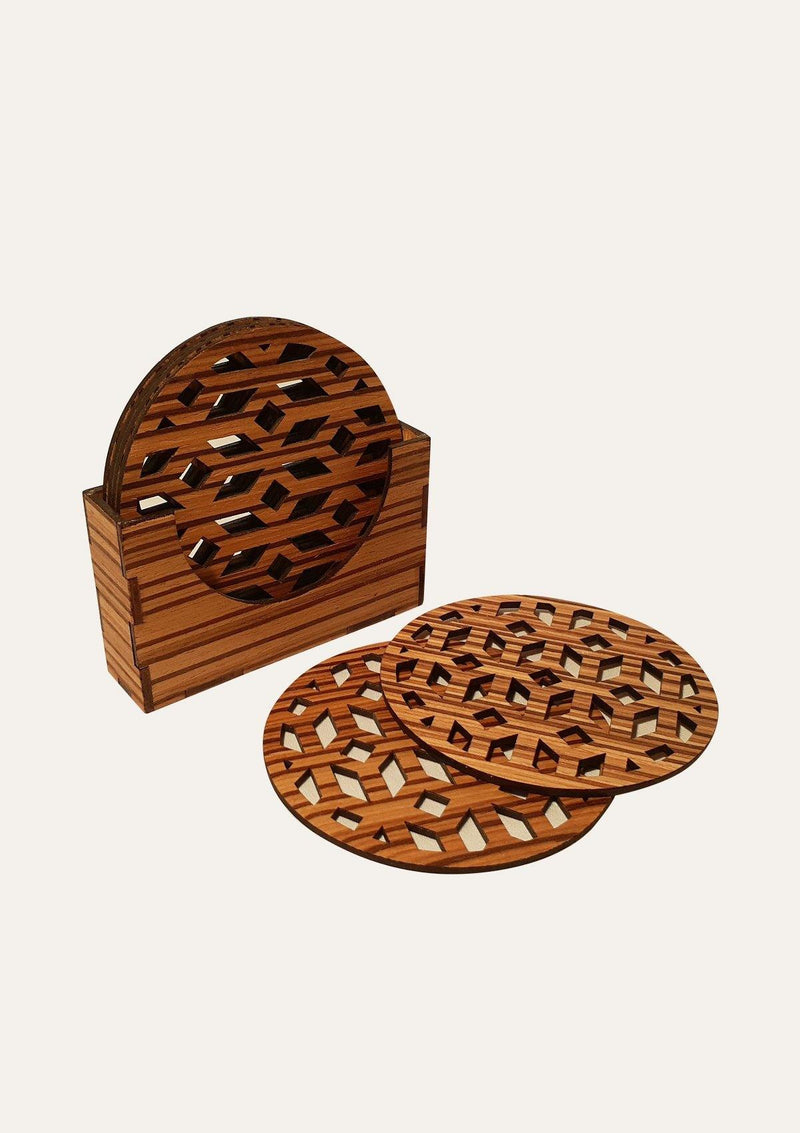 Coaster with Ornament Carvings - African Collection
