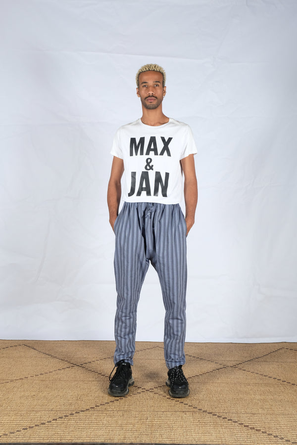 Striped Blue Cotton Pants - African Collection