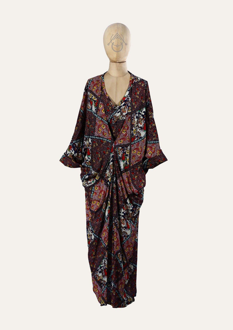 Floral Gandoura Dress With Bat Sleeves And a Clip In The Front - Africancollection
