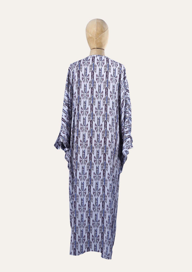 Light Blue Gandoura Dress With Bat Sleeves And a Clip In The Front - Africancollection