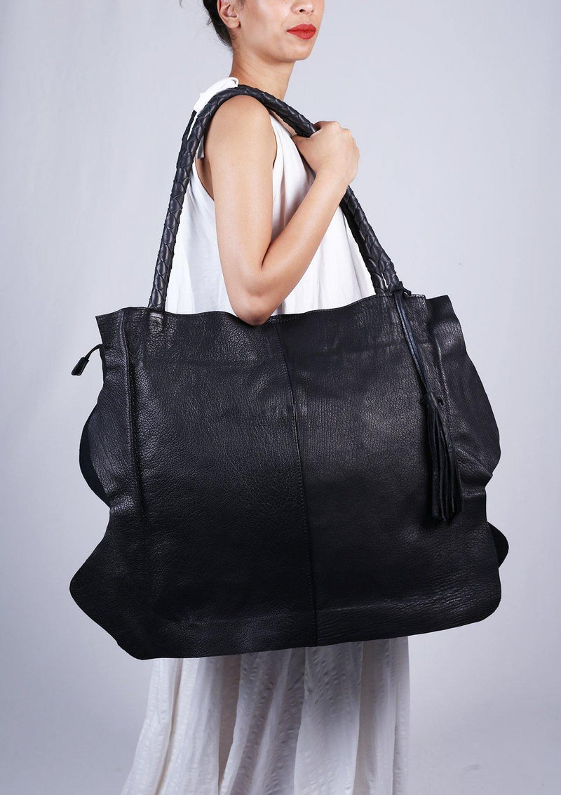 Extra Large Black Leather Bag - Africancollection