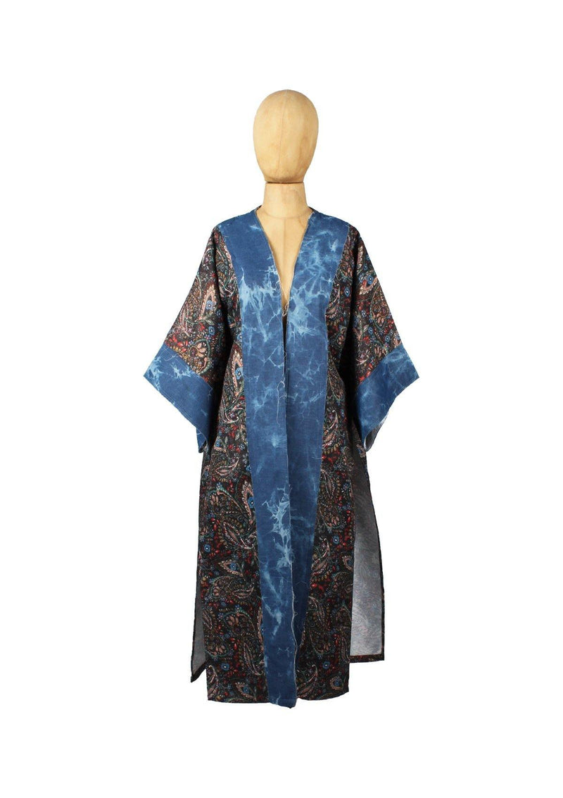 Feather/Floral Long Kimono - Africancollection