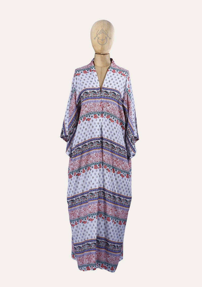 Floral Long dress with a V neck - Africancollection