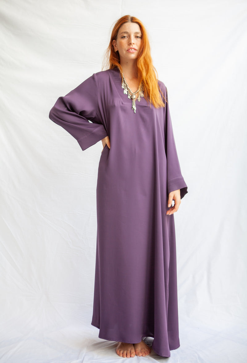 Long sleeve tunic dress with v neckline plated - African Collection