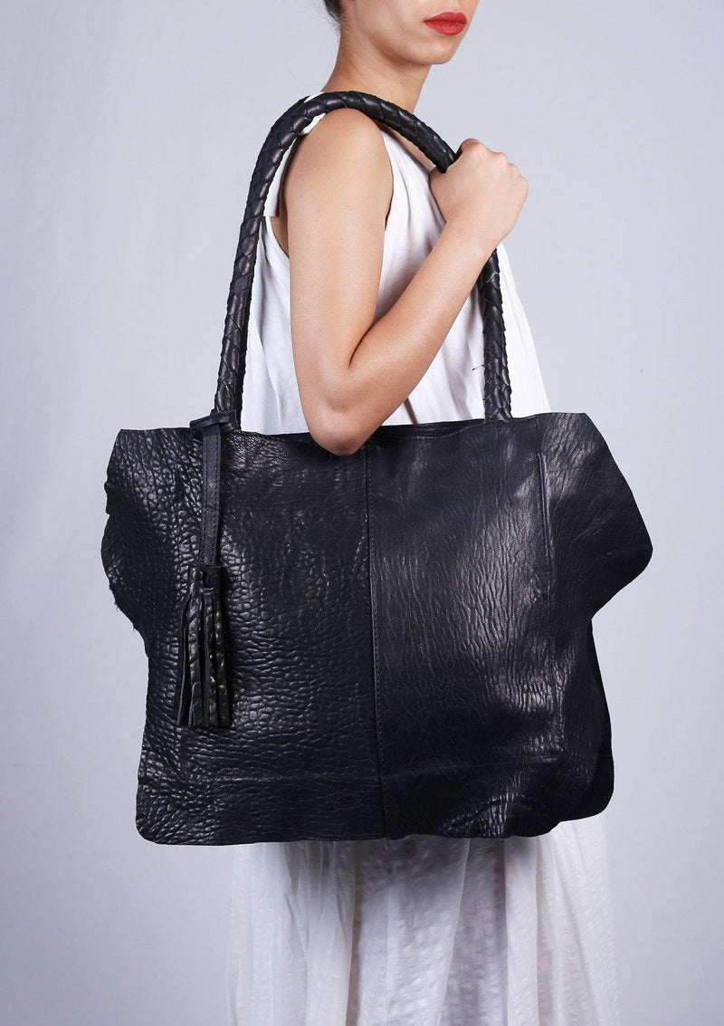 Large Black Leather Bag - African Collection