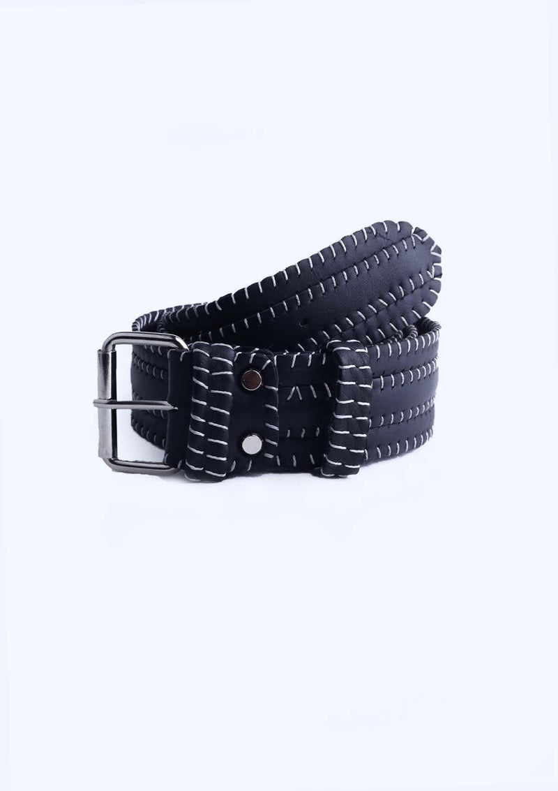 Leather Black Belt With Stripes - African Collection