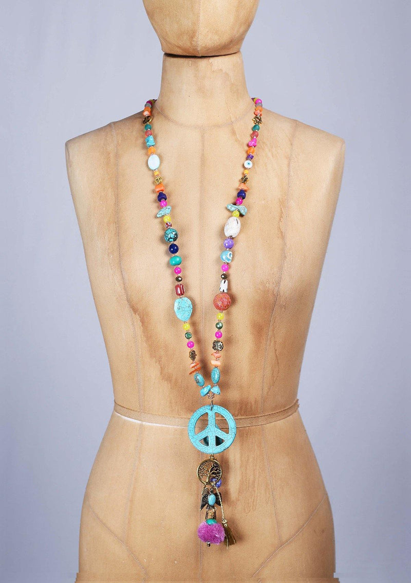 Long Colorfull Necklace with a Peace Sign - African Collection