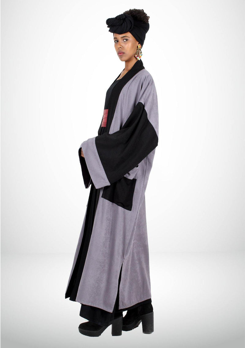 Long Gray and Black Kimono - African Collection