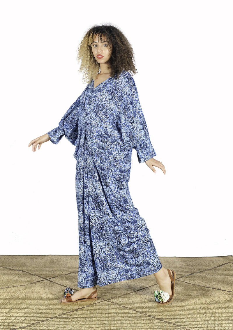 Blue Long Dress Closed In Front - African Collection