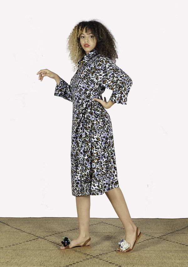 Printed Viscose Wrap Dress - African Collection