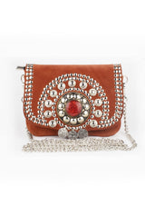Mini Bag with a Pearl and Ornament Patern - African Collection