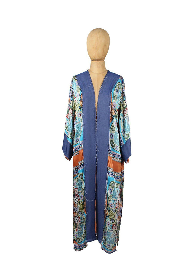 Orange/SkyBlue Floral Long Kimono - Africancollection