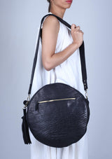 Round Black Leather Bag - African Collection