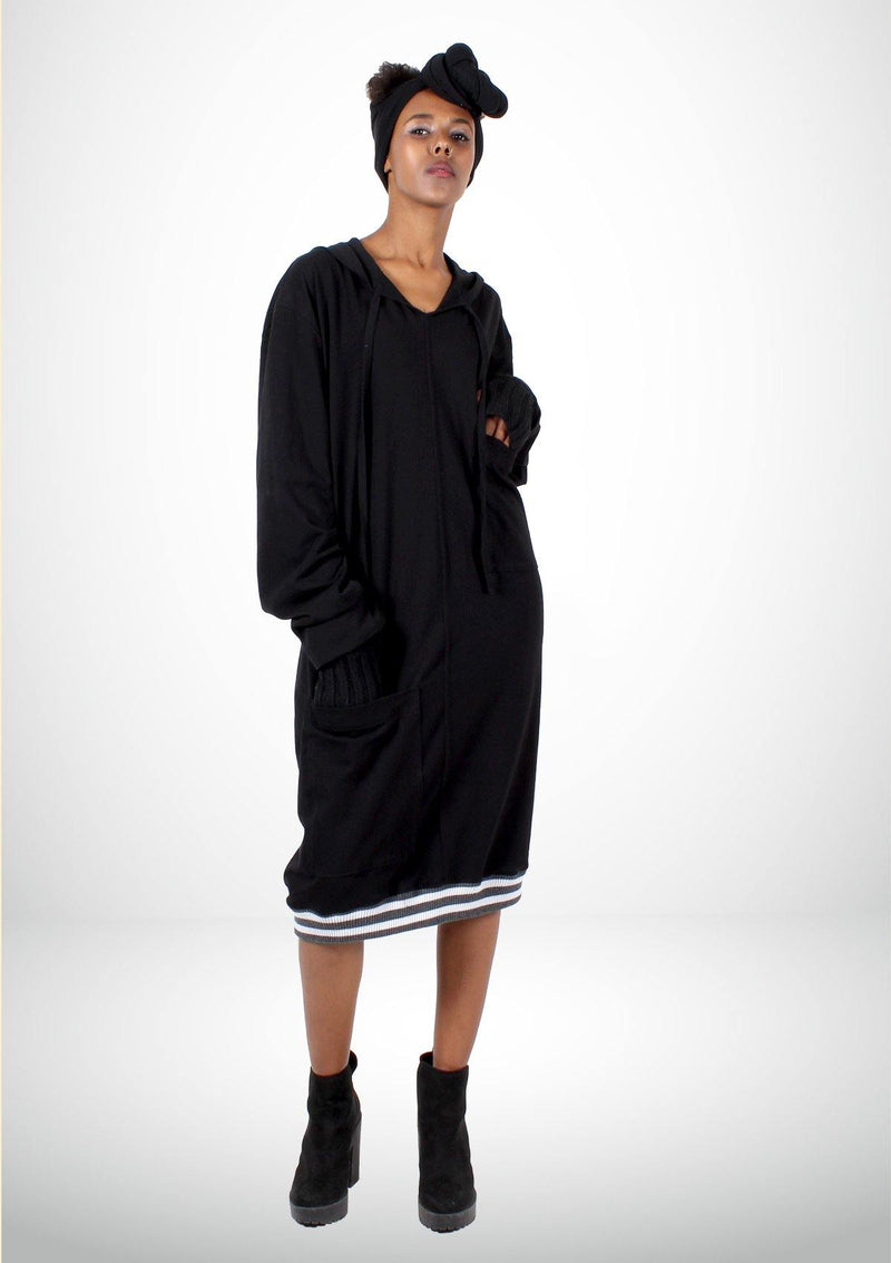 Sporty Black Hoodie Dress with White Stripes - Africancollection
