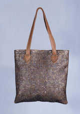 Studded Colored Leather Bag - African Collection